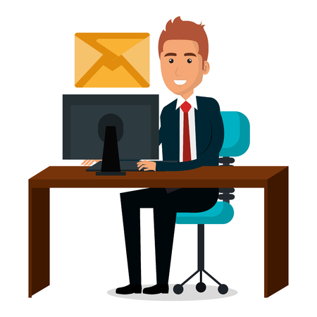Businessman in workplace character vector illustration design.
