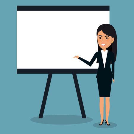 Businesswoman with paperboard character vector illustration design.