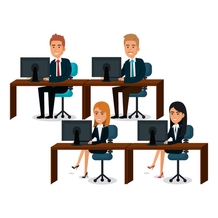 Group of business people teamwork in workplace vector illustration design.
