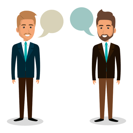 Group of businessman teamwork with speech bubbles vector illustration design.