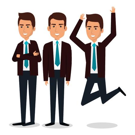 Group of business man teamwork vector illustration design.