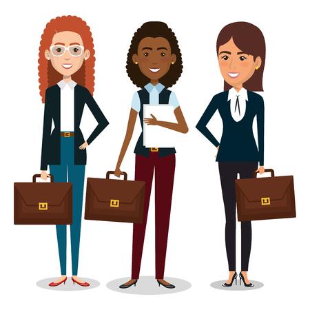 group of businesswoman with portfolio teamwork vector illustration design Illustration