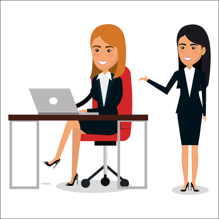 group of businesswoman in workplace teamwork vector illustration design Illustration