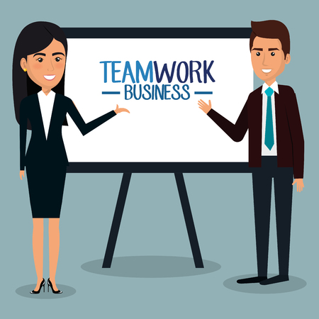 group of businespeople with paperboard teamwork vector illustration design