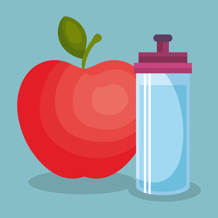 Bottle gym and apple wellness lifestyle vector illustration design. 일러스트