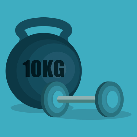 Weight lifting devices wellness lifestyle vector illustration design. Çizim
