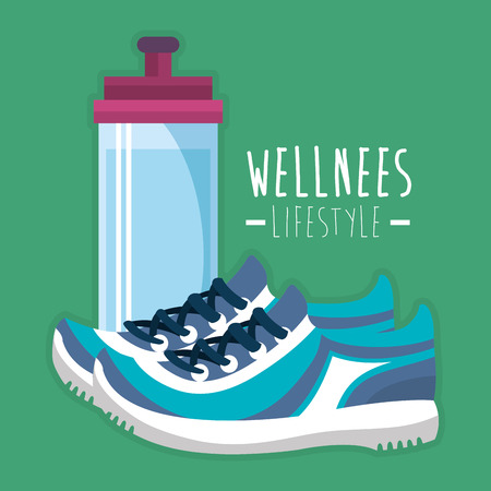 bottle gym and tennis wellness lifestyle vector illustration design