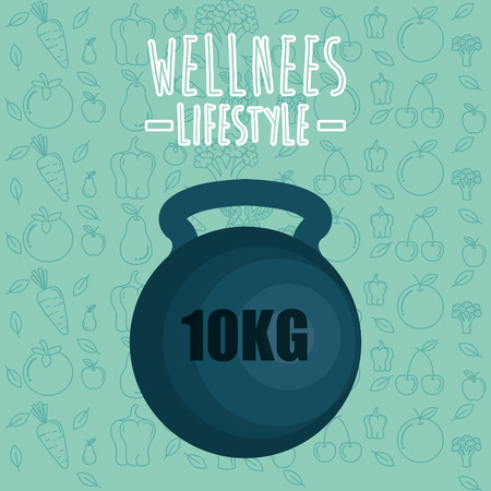 Weight lifting devices wellness lifestyle vector illustration design