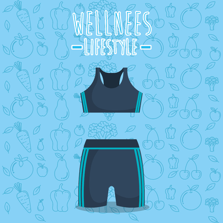clothes gym wellness lifestyle vector illustration design