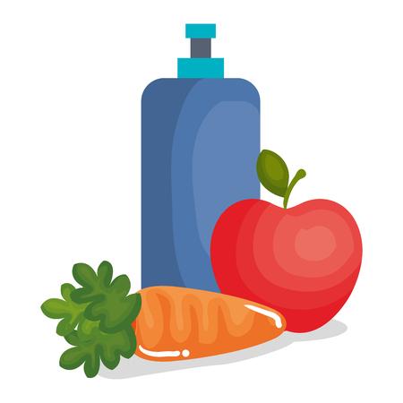 carrot vegetable with apple vector illustration design