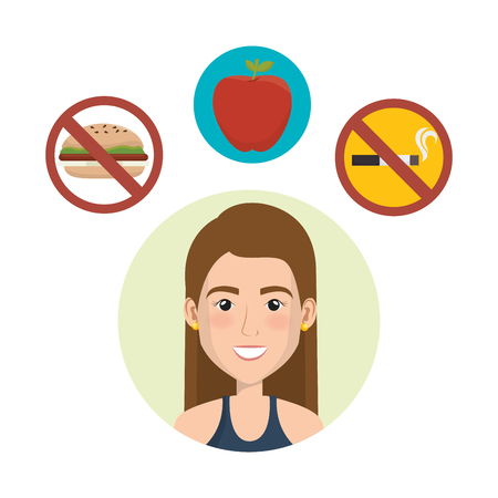 female athlete with healthy lifestyle icons vector illustration design