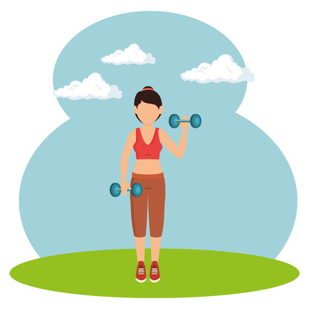 athlete female working out character vector illustration design
