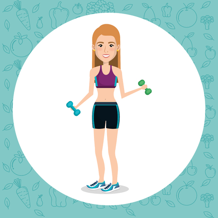 female athlete weight lifting vector illustration design