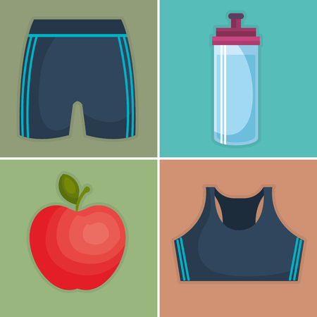 fitness and gym set icons vector illustration design