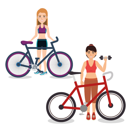 female athlete practicing exercise vector illustration design