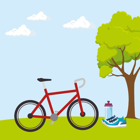 bicycle sport wellness lifestyle vector illustration design