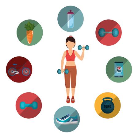 female athlete practicing exercise vector illustration design