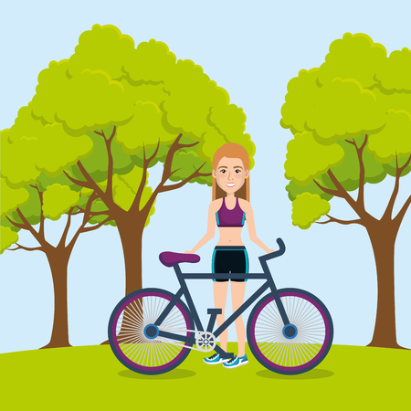 female athlete with bicycle icons vector illustration design