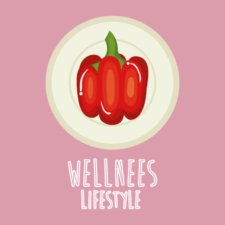 pepper vegetable wellness lifestyle vector illustration design Ilustrace