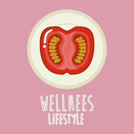 tomato vegetable wellness lifestyle vector illustration design