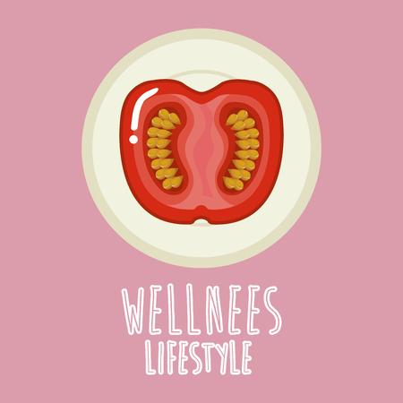 tomato vegetable wellness lifestyle vector illustration design Stock Vector - 95948927