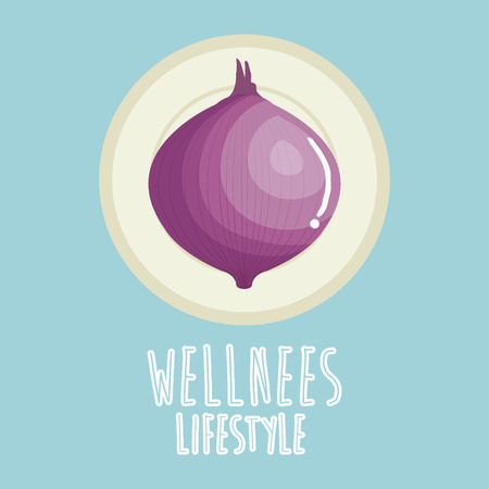 onion vegetable wellness lifestyle vector illustration design