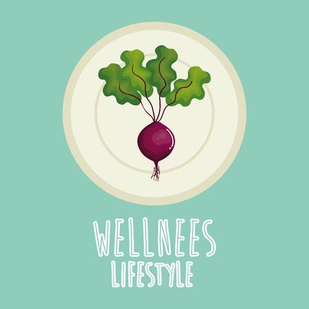 garlic vegetable wellness lifestyle vector illustration design