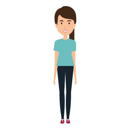 young and casual woman character vector illustration design