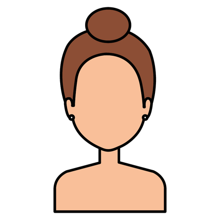 young woman shirtless character vector illustration design 矢量图像