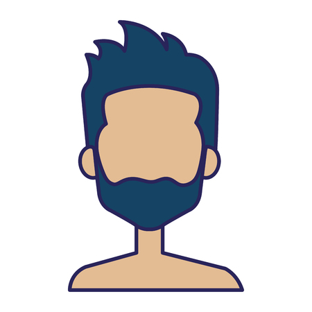 Young man shirtless with beard avatar character vector illustration design.