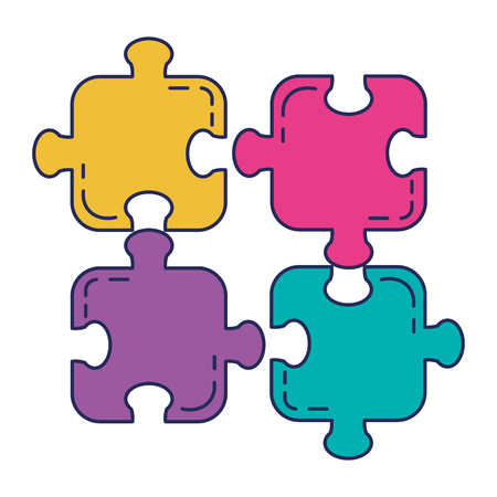 Puzzle game pieces icons vector illustration design. Illustration