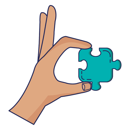 hand with puzzle game piece icon vector illustration design