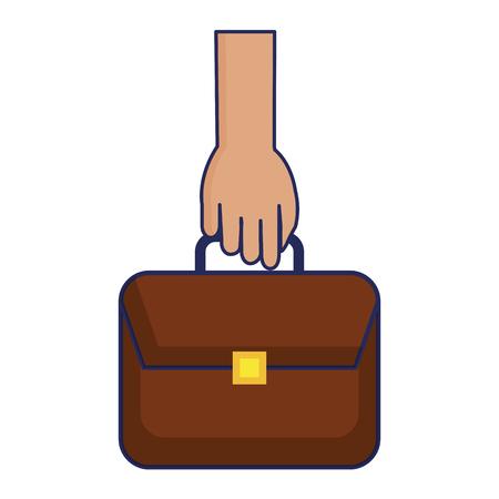 hand with portfolio briefcase isolated icon vector illustration design Illustration