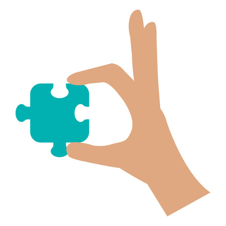 Hand with puzzle game piece icon vector illustration design.