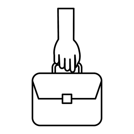 Hand with portfolio briefcase isolated icon vector illustration design