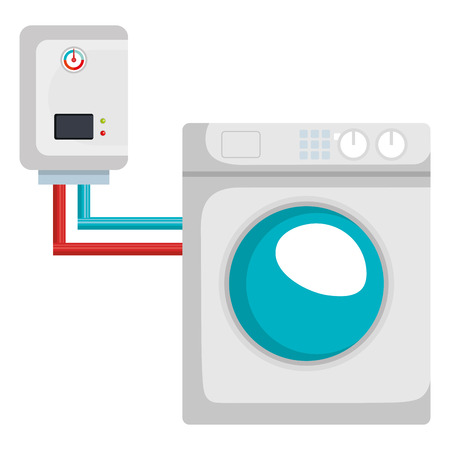 washer machine appliance with water heater vector illustration design Archivio Fotografico - 96009493