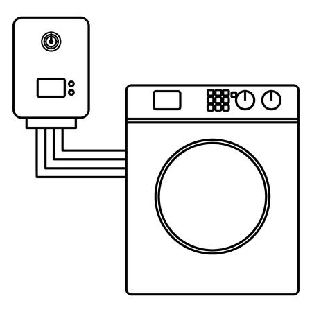 Washer machine appliance with water heater vector illustration design