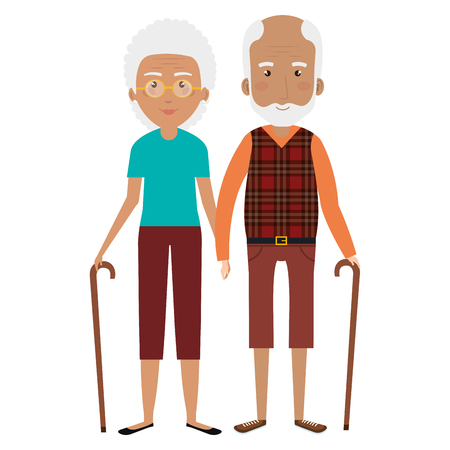 Cute grandparents couple with cane avatar character vector illustration design