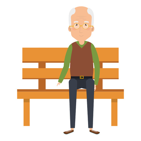 Cute grandfather in park chair avatar character vector illustration design