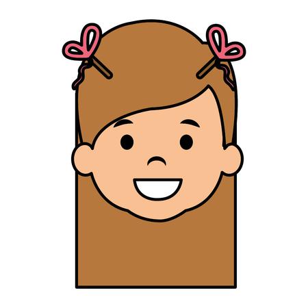 Cute and little girl head vector illustration design