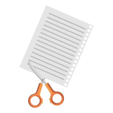 Document paper with scissors vector illustration design