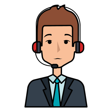 businessman with headset avatar character vector illustration design