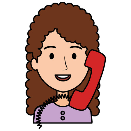 woman calling with old telephone vector illustration design Ilustracja