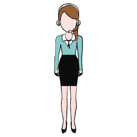 Businesswoman with headset character vector illustration design