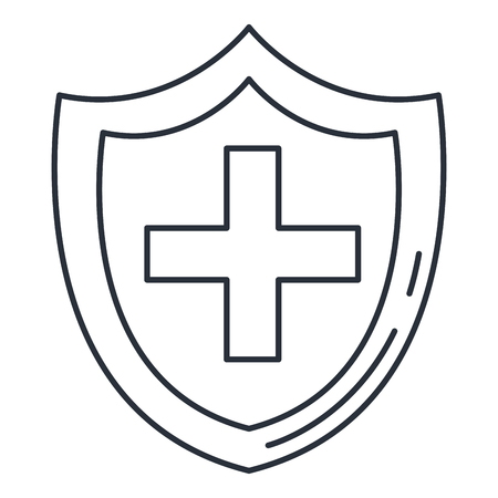 shield with cross icon vector illustration design Stock Illustratie