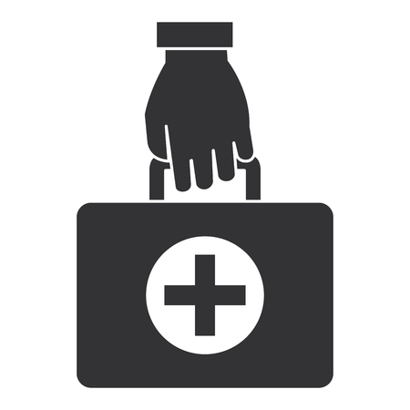 hand with medical kit isolated icon vector illustration design