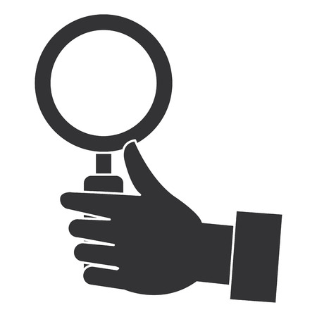 hand human with magnifying glass isolated icon vector illustration design Stock Vector - 95990524