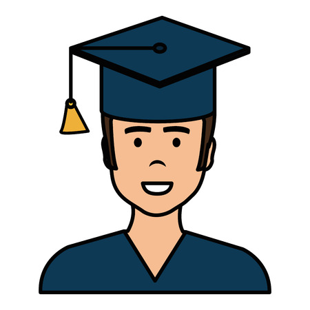 Graduated with hat avatar character vector illustration design Banque d'images - 95991710