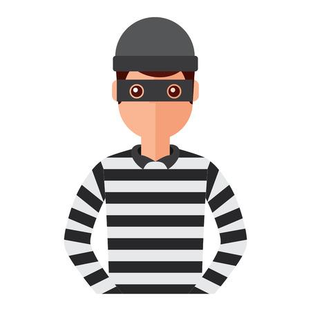 mannelijke dief avatar masker cap en gestreepte kleding vector illustratie