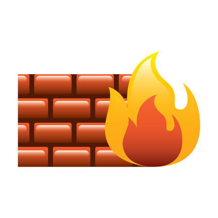 brick wall on fire flame burning vector illustration Stock Vector - 96010358